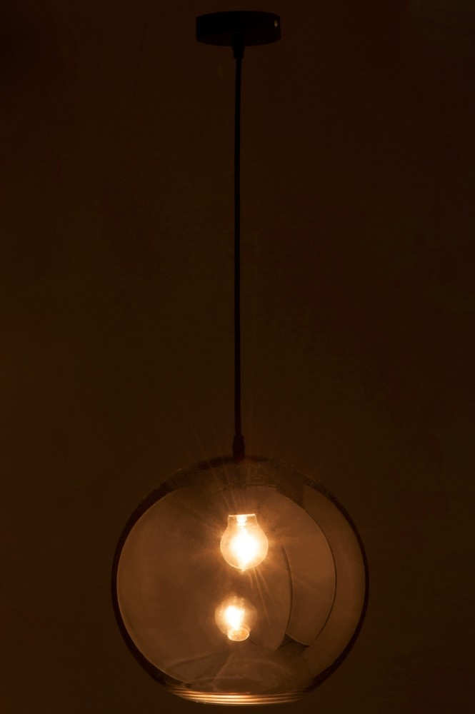 J-line Lamp Bol Glas Zilver Large