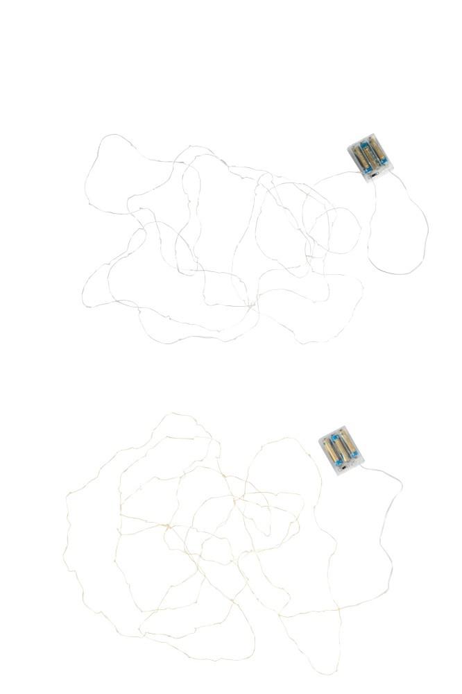 J-line Kerstverlichting Draad Goud/Zilver 60Led Warm Wit Batterij Assortiment Van 2