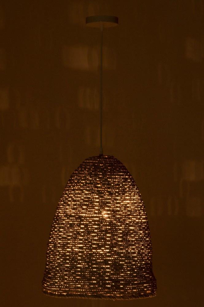 J-line Hanglamp Ovaal Touw White Wash