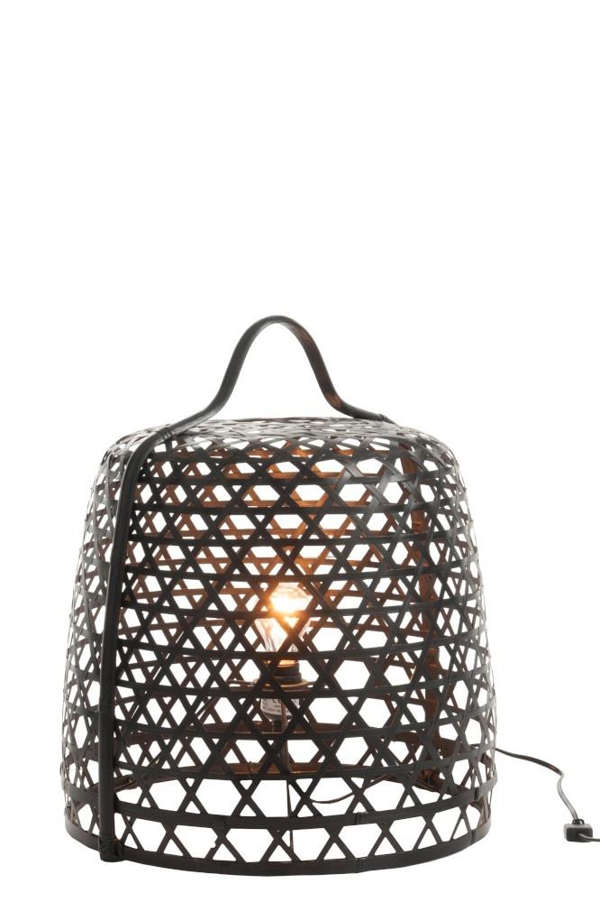 J-line Lamp Grond Rond Bamboe Zwart