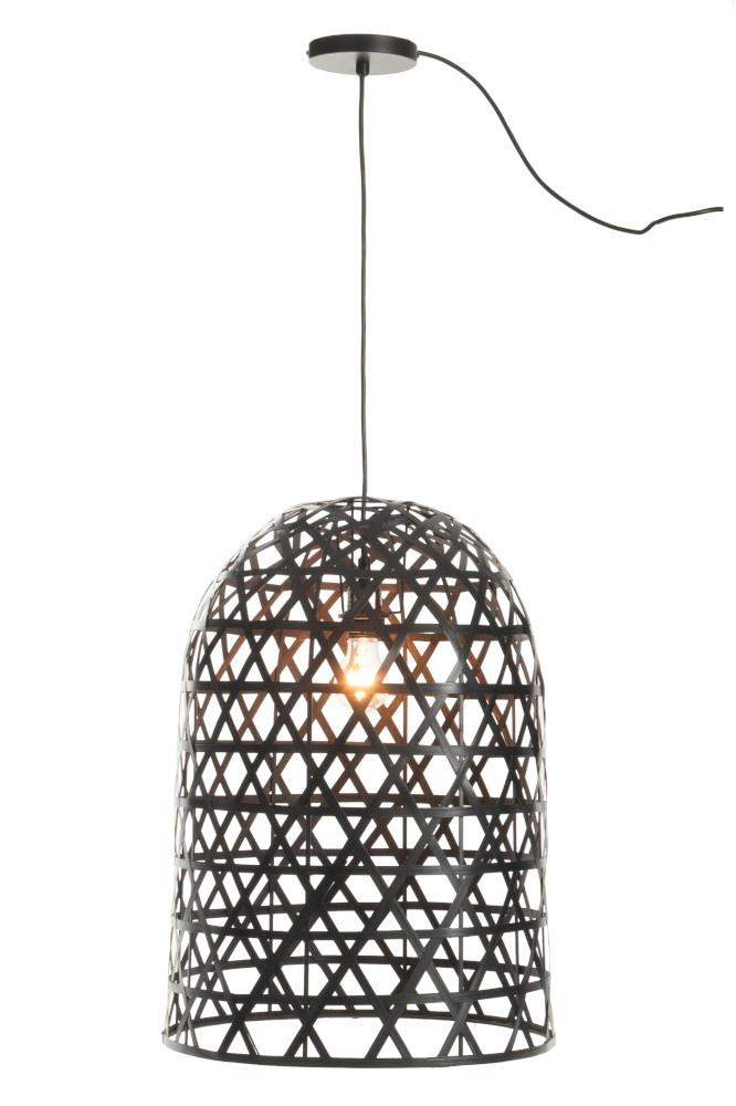 J-line Hanglamp Cilinder Bamboe Zwart-82161-5415203821614