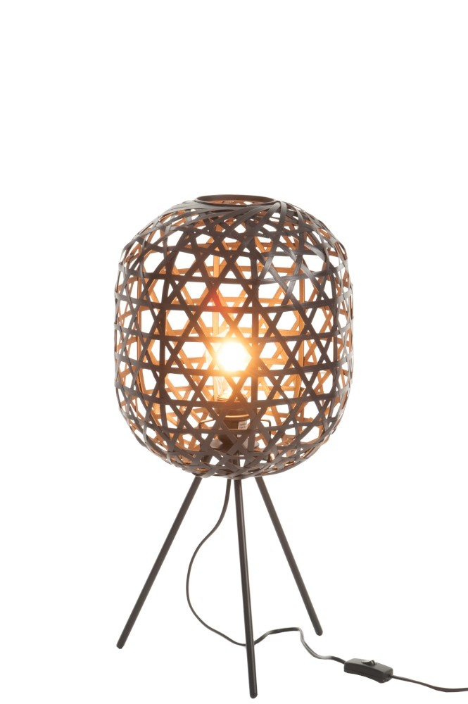 J-line Tafellamp Tripod Rond Bamboe/Metaal Zwart-82162-5415203821621