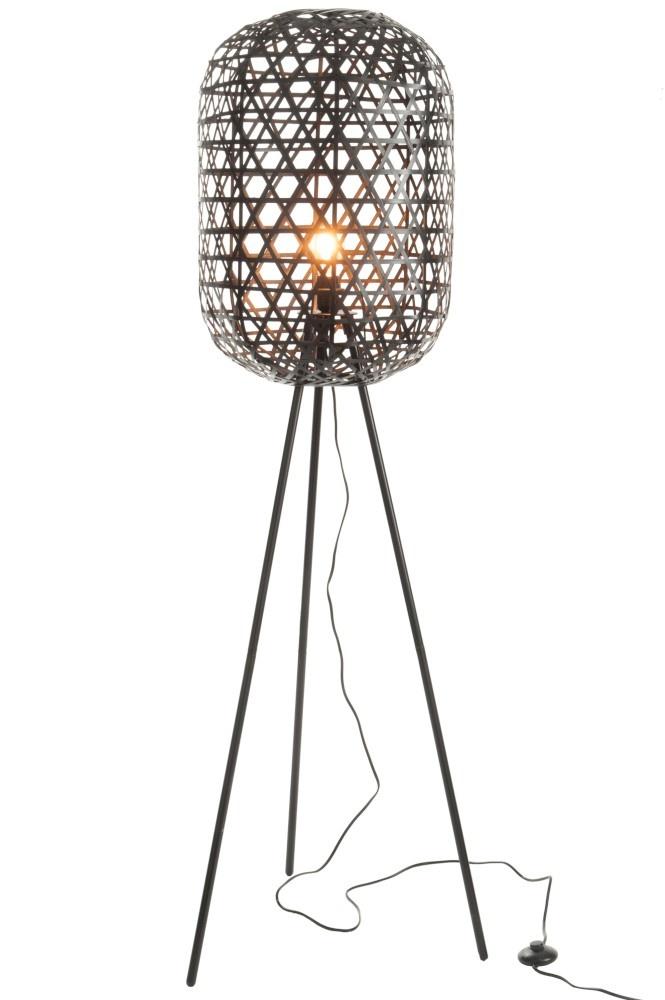 J-line Lamp Staand Tripod Rond Bamboe/Metaal Zwart-82163-5415203821638