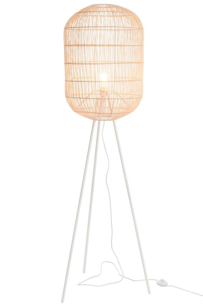 J-line Lamp Staand Tripod Rond Papier/Metaal Naturel/Wit