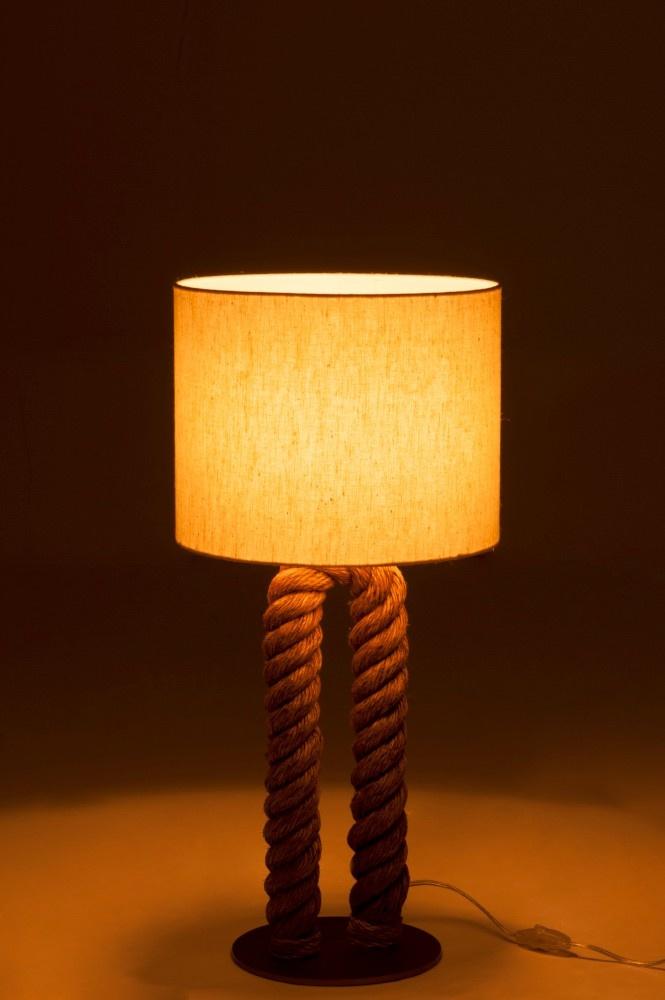 J-line Tafellamp Pilaar Touw U-Vorm Jute Naturel