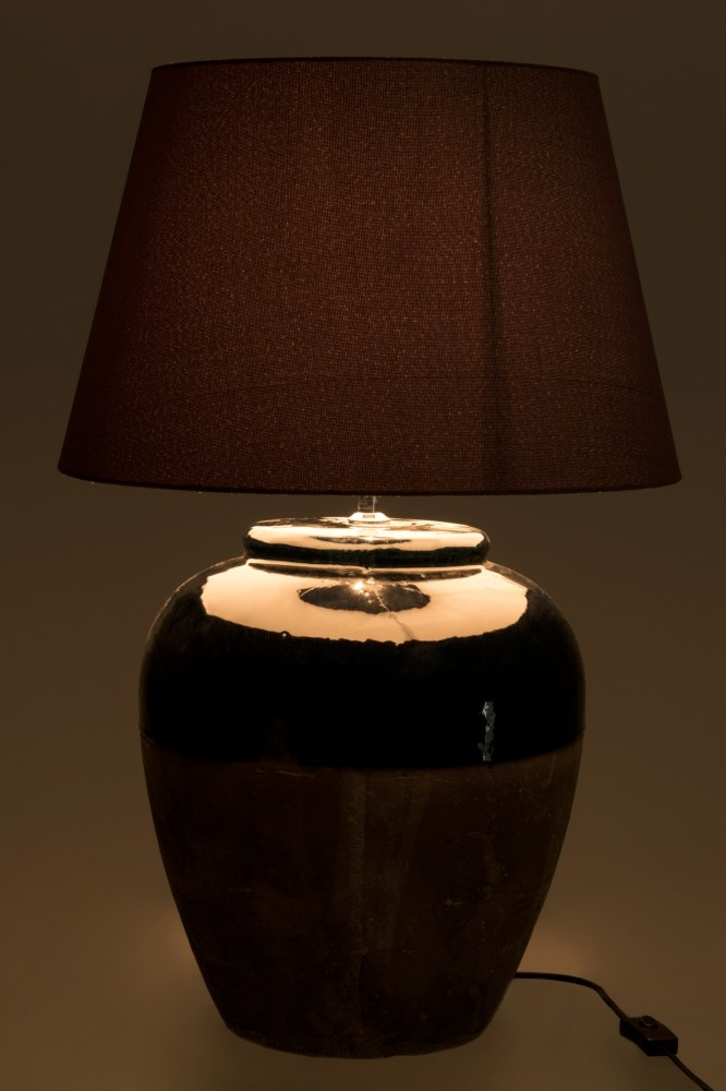 J-line Lampvoet+Kap Aardewerk Blauw/Grijs