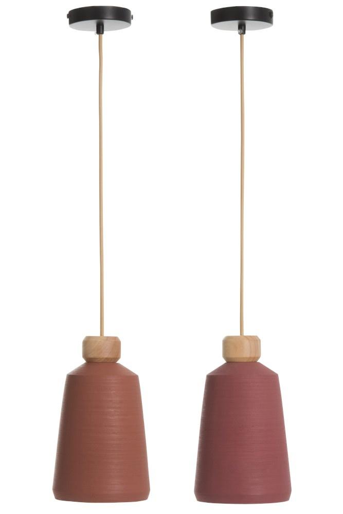 J-line Hanglamp Conisch Cement Terracotta/Roze Ass 2-83835-5415203838353