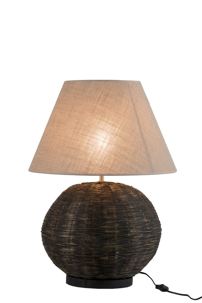 J-line Lamp Rond Bamboo Zwart-85191-5415203851918