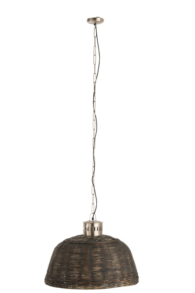 J-line Hanglamp Rond Bamboo Zwart Small