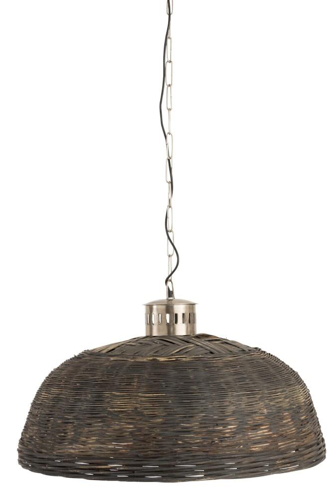 J-line Hanglamp Rond Bamboo Zwart Large-85196-5415203851963