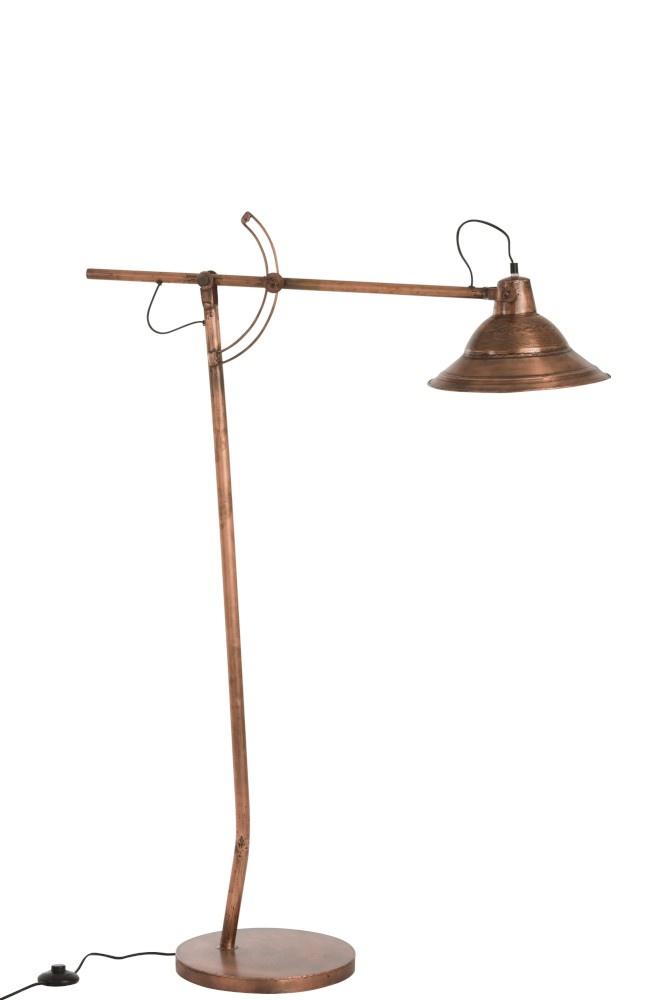 J-line Lamp Staande Afgeplat Metaal Koper