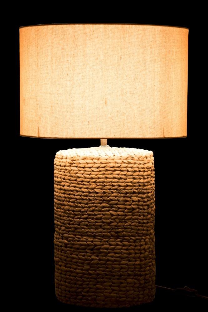 J-line Lampvoet+Kap Dik Vlecht Beton/Katoen Naturel L