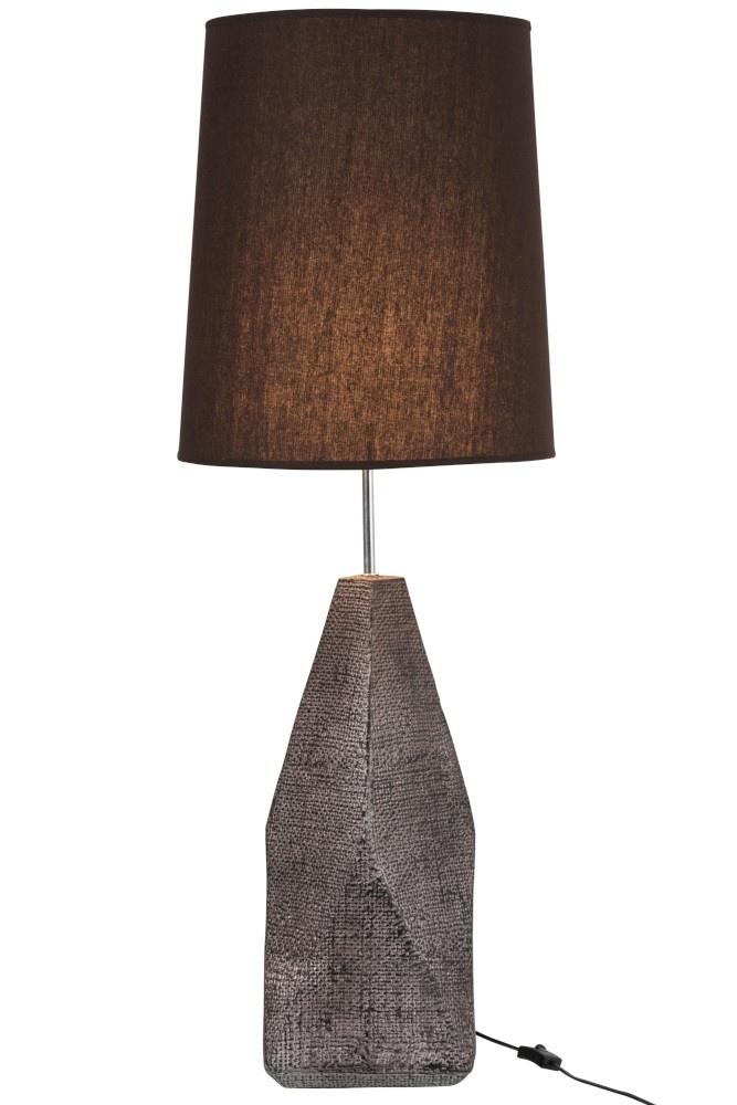 J-line Lampvoet+Kap Geometrisch Keramiek/Katoen Bruin