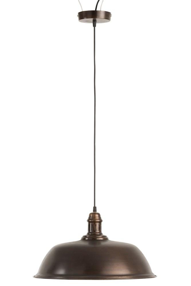 J-line Hanglamp Rond IJzer Donker Bruin-85288-5415203852885