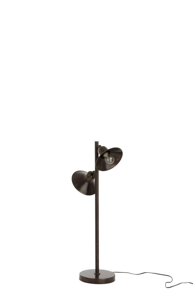 J-line Lamp Staand 2Lampen IJzer Donker Bruin-85289-5415203852892