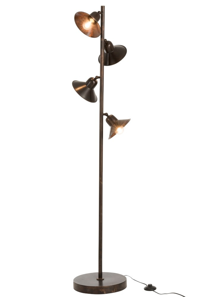 J-line Lamp Staand 4Lampen IJzer Donker Bruin