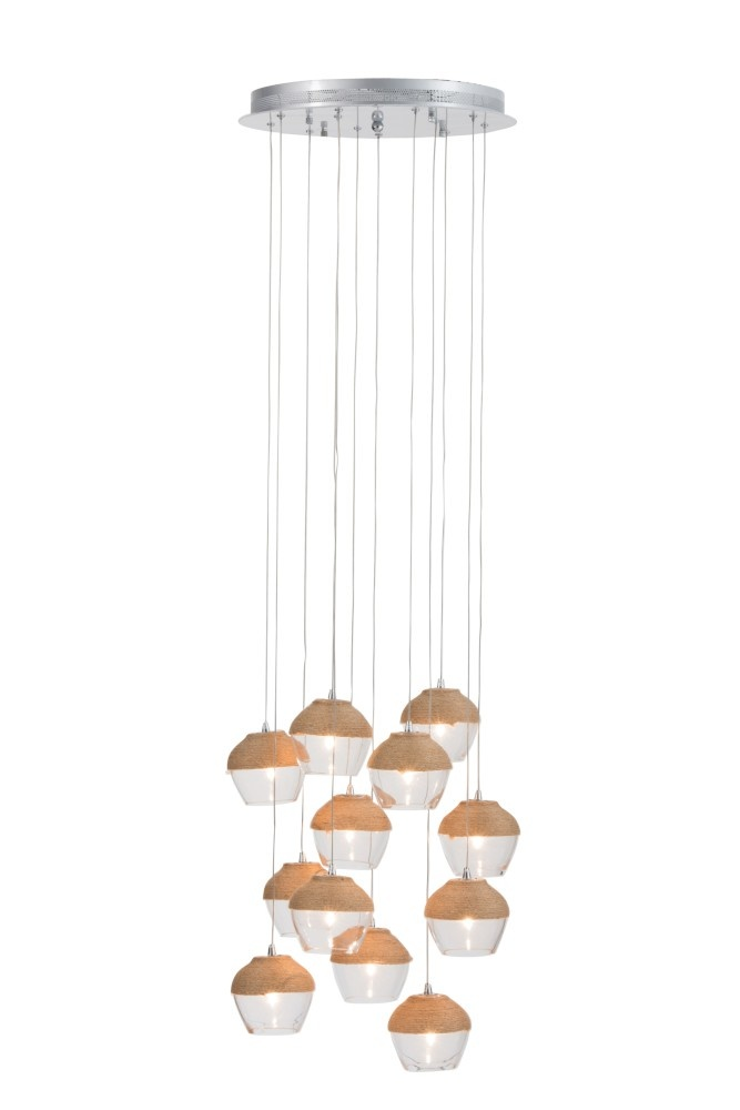 J-line Hanglamp 10Kopjes Glas/Touw Transparant/Naturel