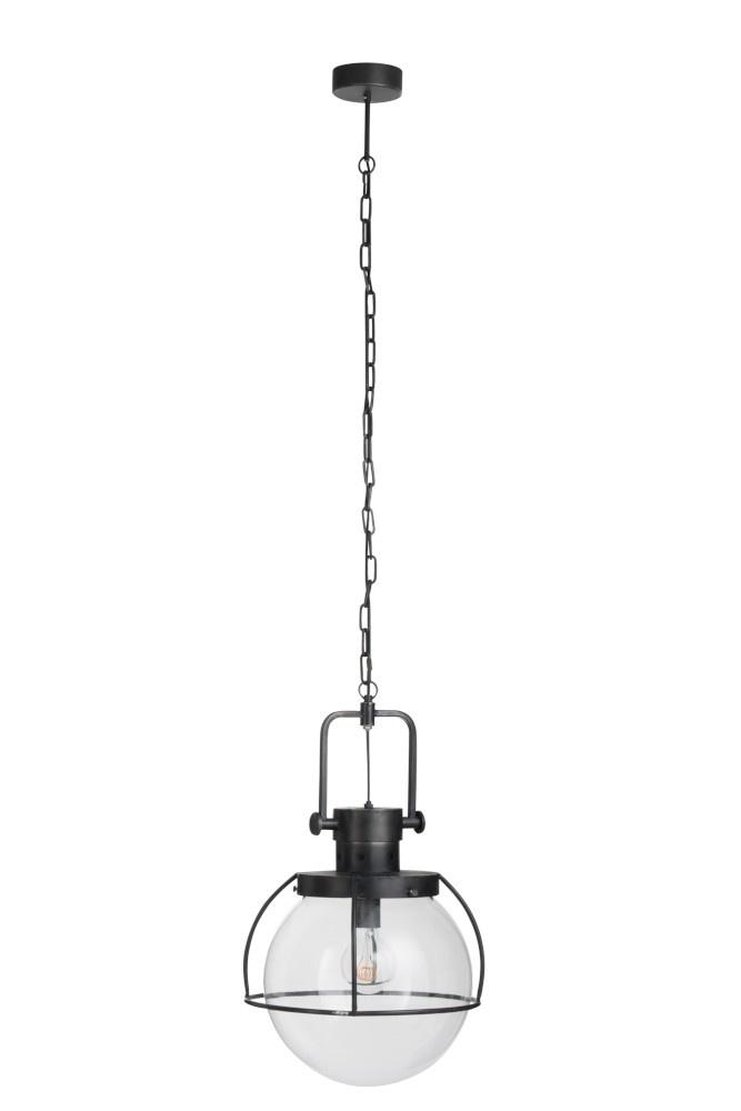 J-line Hanglamp 1 Bol Metaal/Glas Zwart