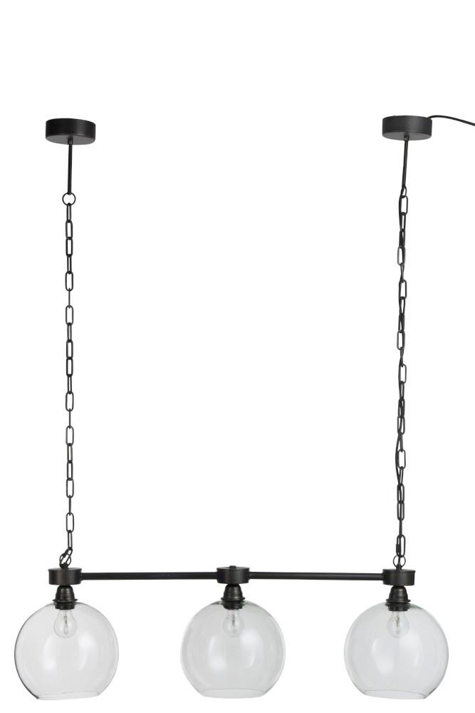 J-line Hanglamp 3 Bollen Metaal/Glas Zwart