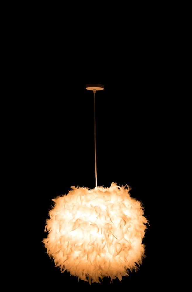 J-line Hanglamp Bol Veren Textiel Wit Medium-85757-5415203857576