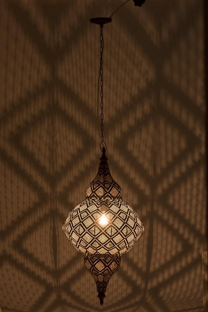 J-line Lamp Oosters Metaal Large Antiek Bruin