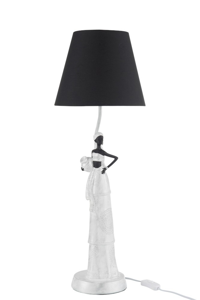J-line Lamp Afrikaanse Vrouw Boho Poly Wit/Zilver