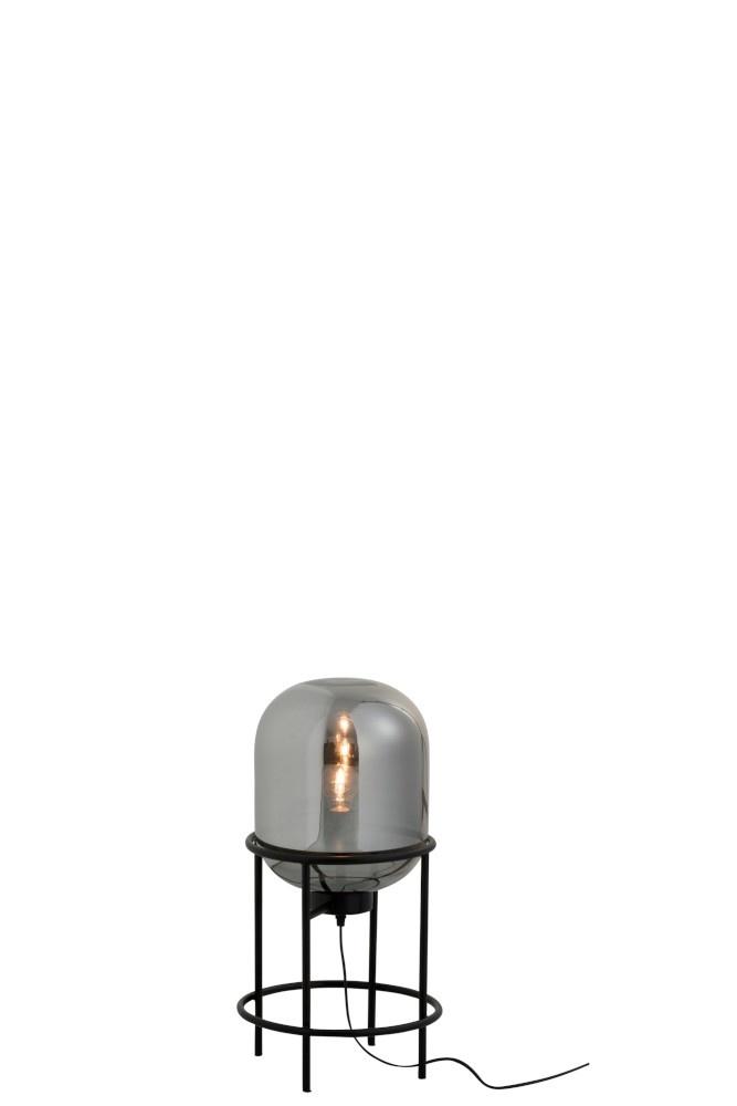 J-line Lamp Op Voet Sasha Glas/Metaal Zilver/Zwart Small-89035-5415203890351