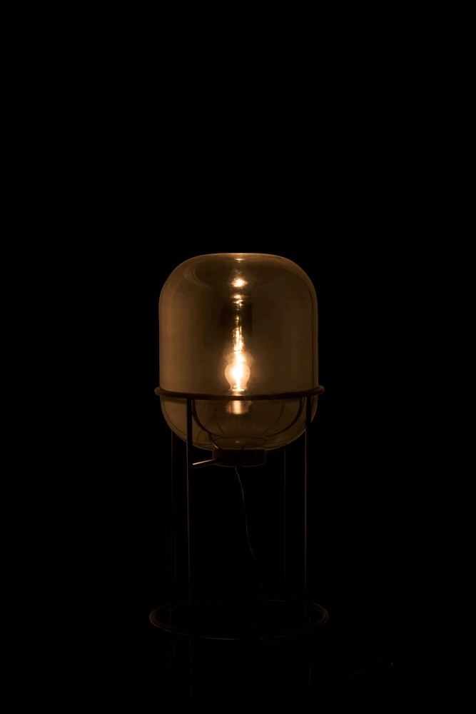 J-line Lamp Op Voet Sasha Glas/Metaal Zilver/Zwart Medium-89036-5415203890368