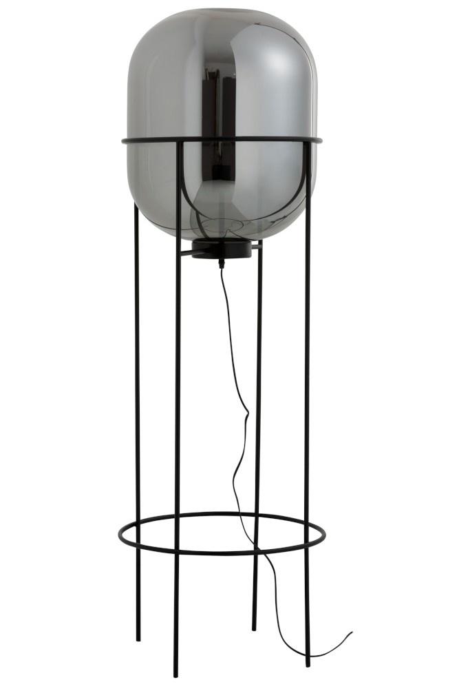 J-line Lamp Op Voet Sasha Glas/Metaal Zilver/Zwart Large-89037-5415203890375