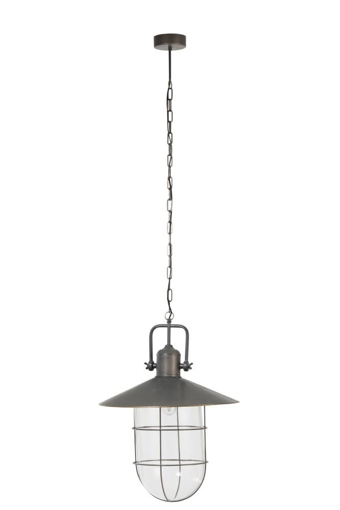 J-line Hanglamp Met Kap Metal/Glas Grijs-90295-5415203902955