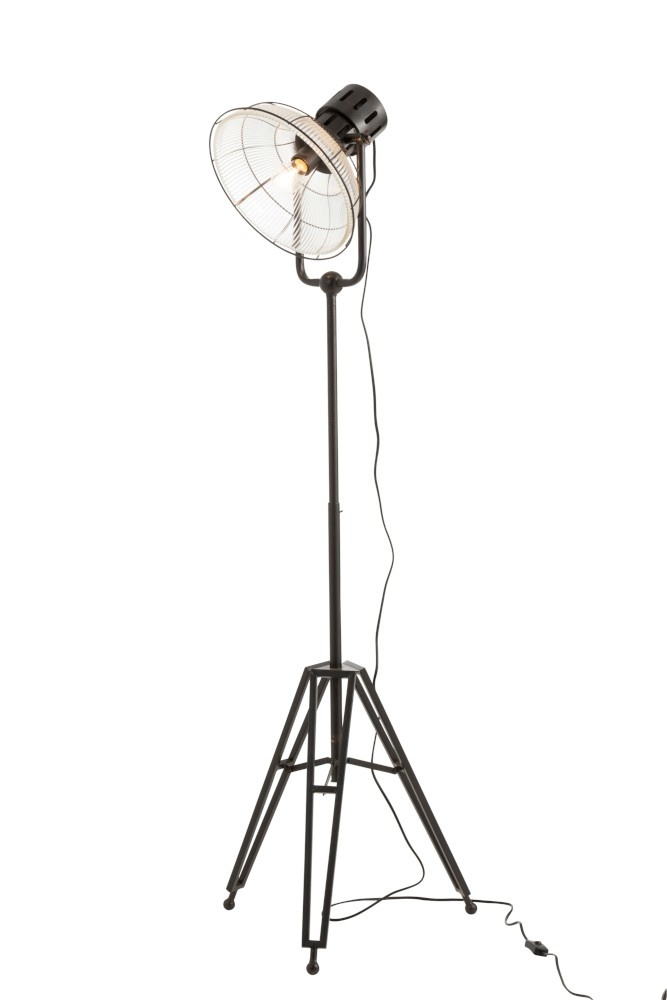 J-line Staanlamp Rond Metal/Glas Zwart-90297-5415203902979
