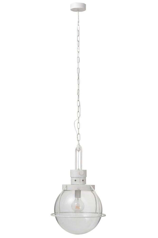 J-line Hanglamp Bol Glas/Metal Wit-90302-5415203903020