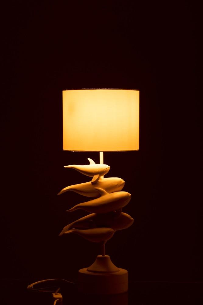 J-line Lamp 4 Dolfijnen Polyresin Wit