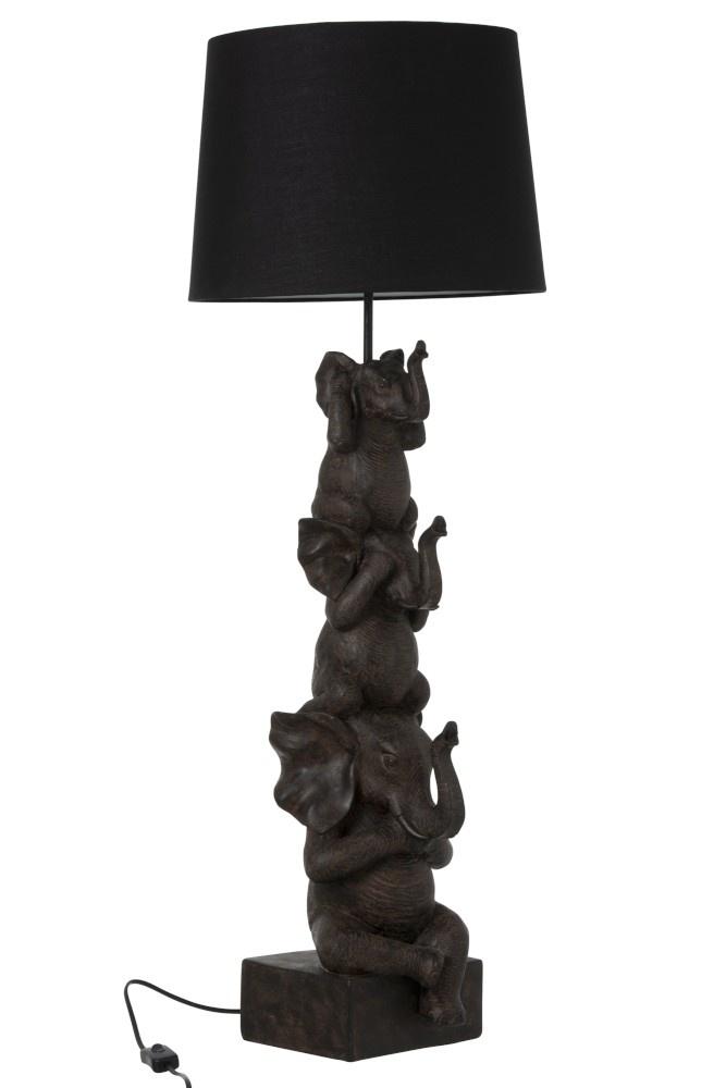 J-line Lamp 3 Olifanten Polyresin Bruin