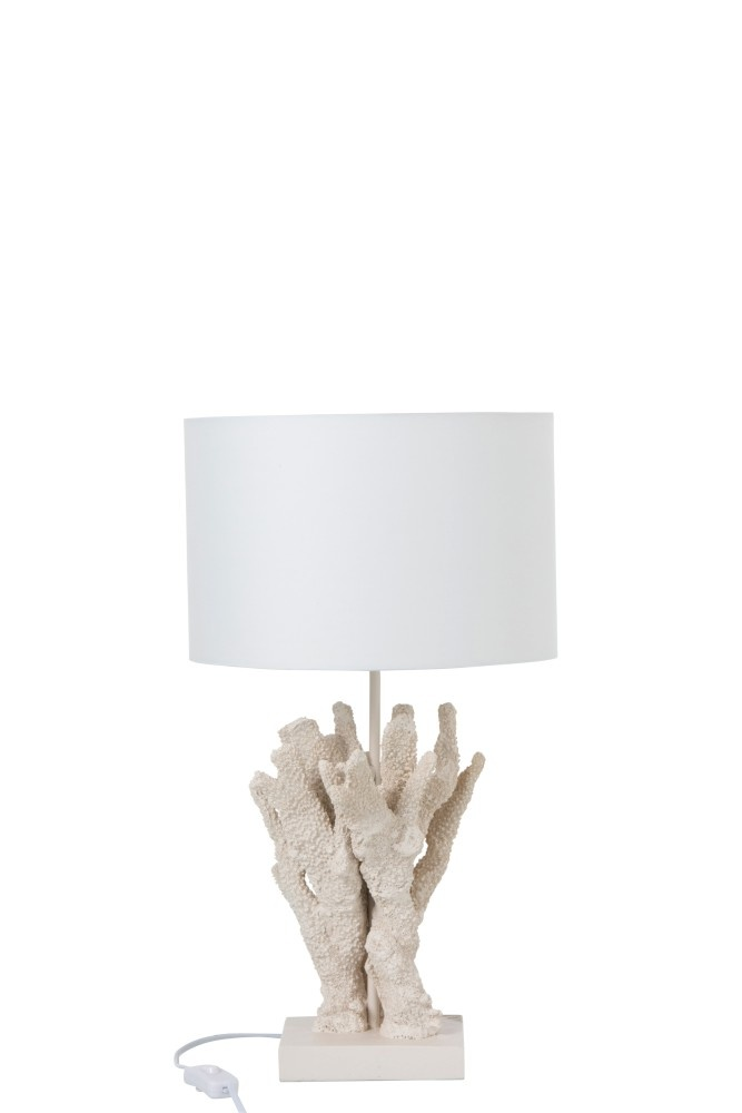 J-line Lamp Koraal Polyresin Beige/Wit