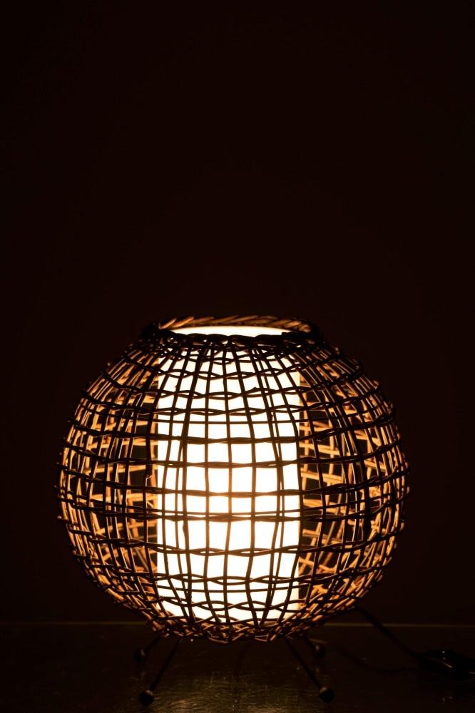 J-line Tafellamp Rond Etnic IJzer/Rotan Bruin