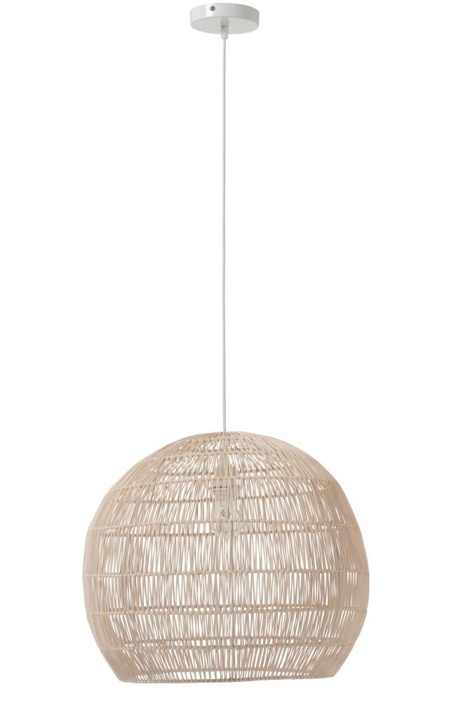 J-line Hanglamp Bol Fijn Lijnen Metaal/Rotan Wit-91098-5415203910981