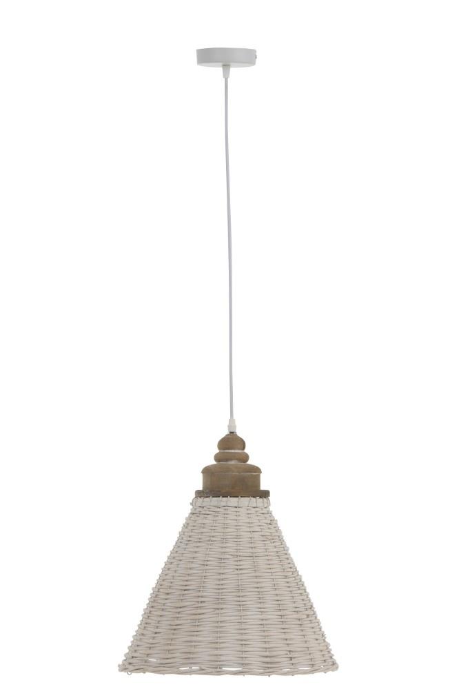 J-line Hanglamp Conisch Rotan Wit