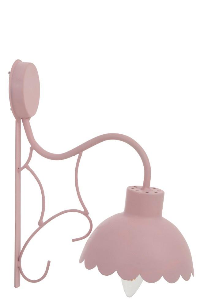 J-line Muurlamp Bloem Candy Metaal Lichtrose-91445-5415203914453
