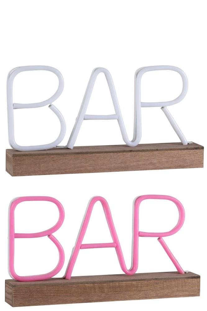 J-line Neonled Lamp Op Voet Bar Plastiek Roze/Wit Assortiment Van 2