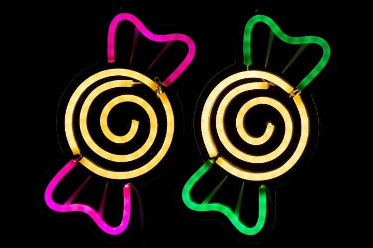 J-line Neonled Lamp Snoep Plastiek Wit/Roze/Groen Assortiment Van 2-91456-5415203914569