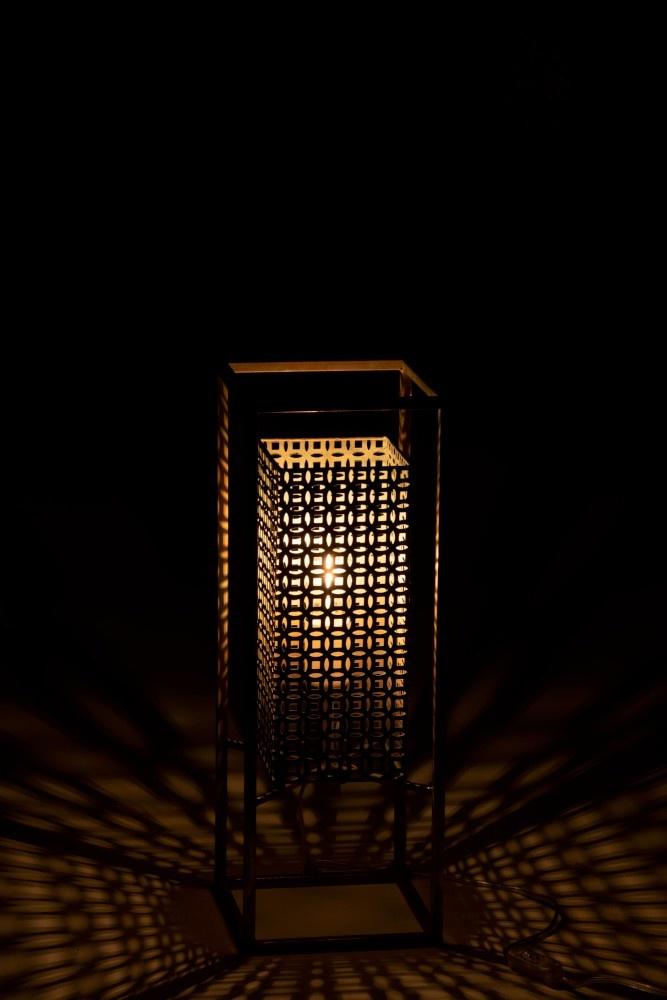 J-line Lamp Rechthoek Metaal Antiek Goud/Blauw Small