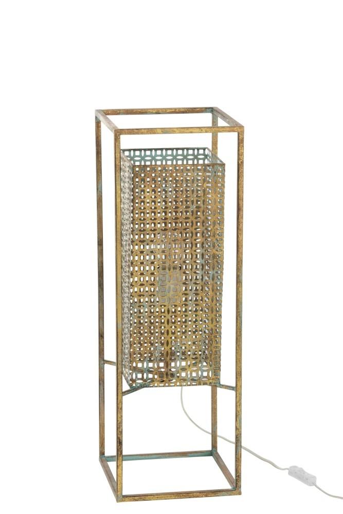 J-line Lamp Rechthoek Metaal Antiek Goud/Blauw Large-92257-5415203922571