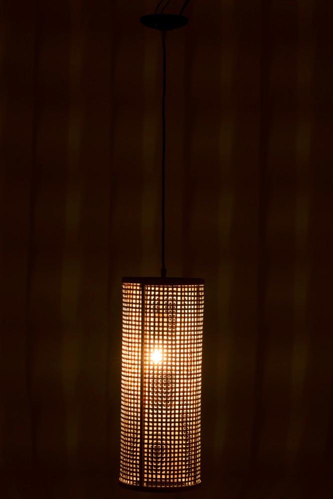 J-line Lamp Hang Raster Rond Bamboe Beige Large