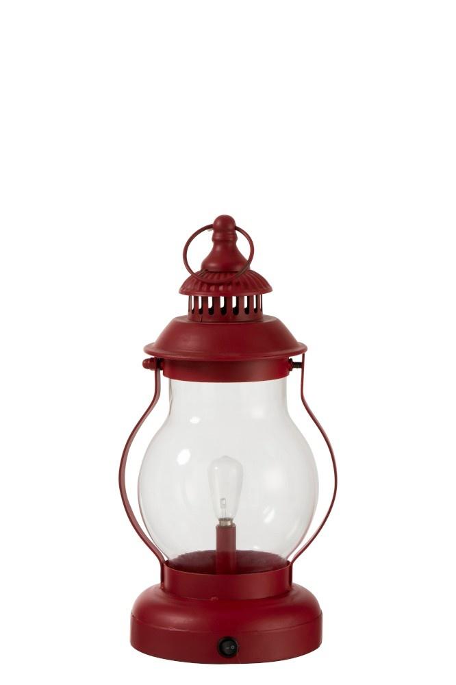 J-line Lamp Led Lantaarn Metaal/Glas Rood-92275-5415203922755