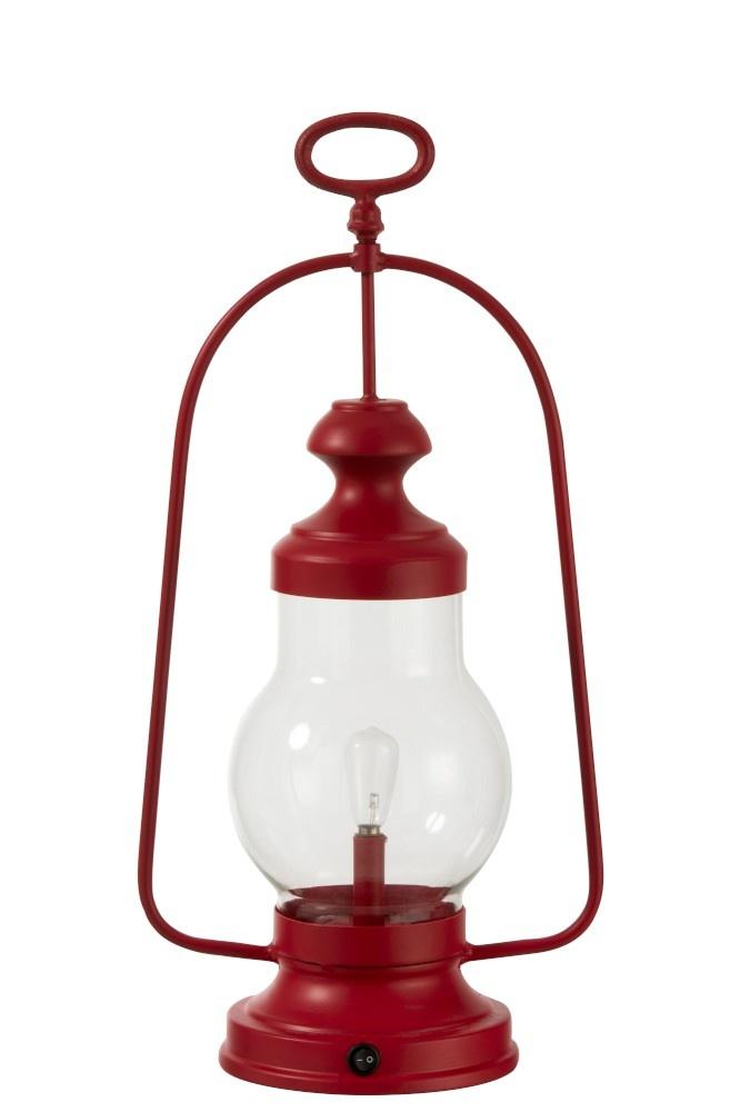 J-line Lamp Led Lantaarn Hoog Handvat Metaal/Glas Rood