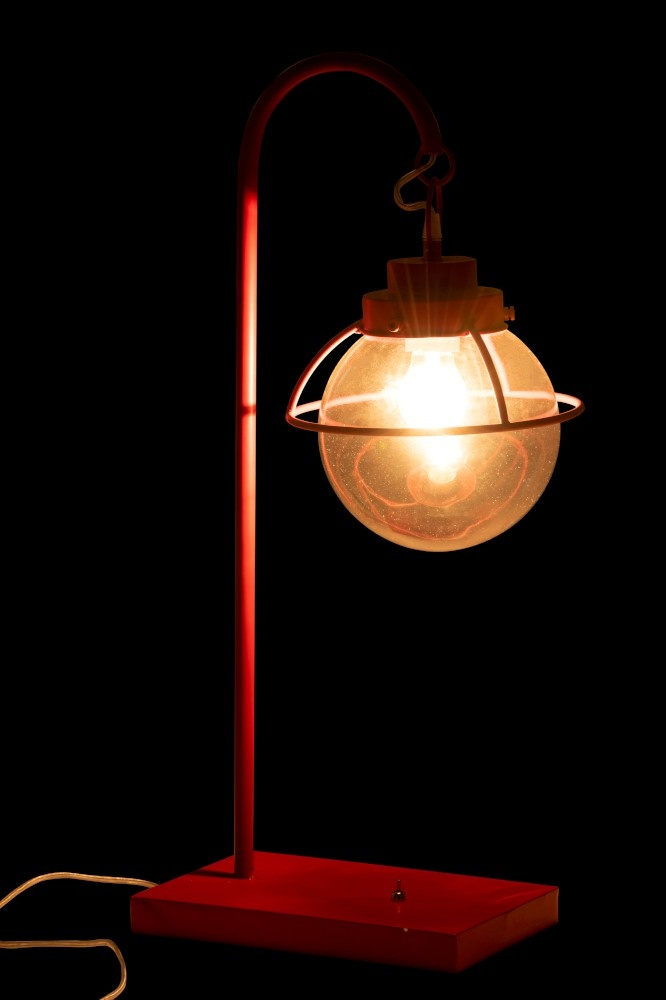 J-line Lamp Bol Hang Metaal/Glas Rood-92277-5415203922779