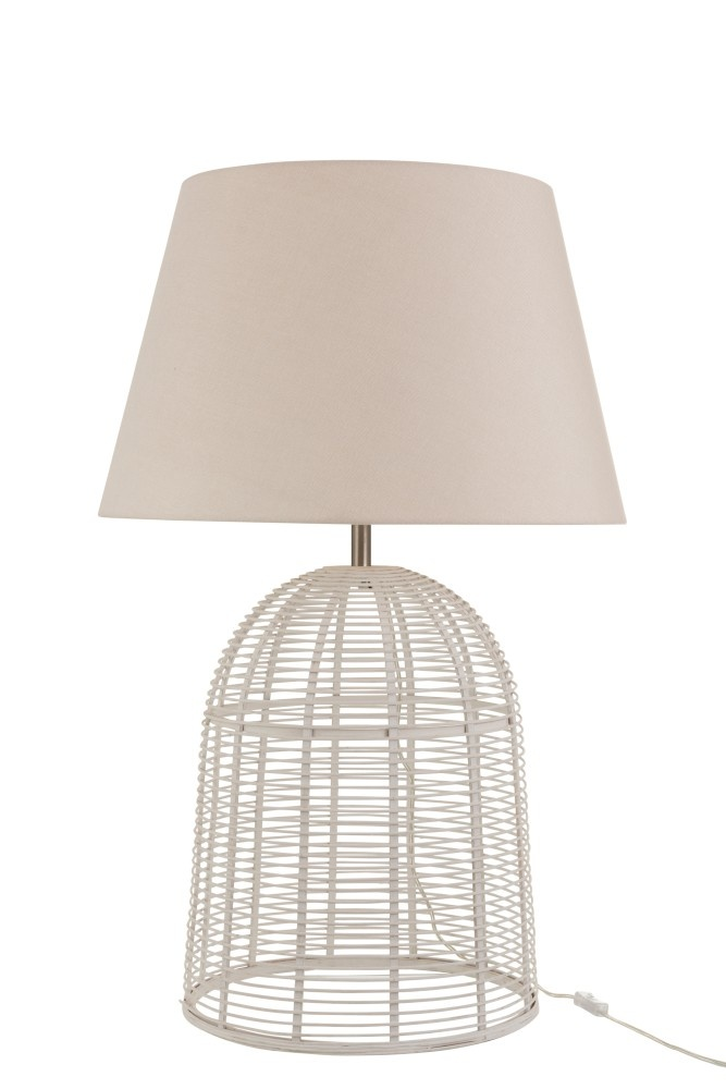 J-line Lampvoet+Kap Spijlen Bamboe Wit Large