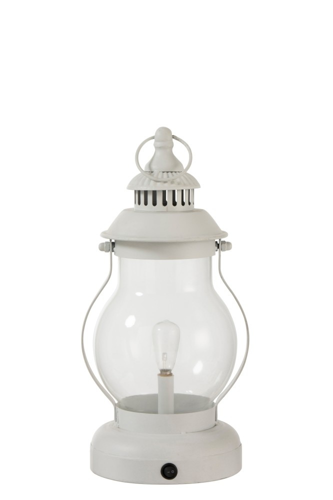 J-line Lamp Led Lantaarn Metaal/Glas Wit
