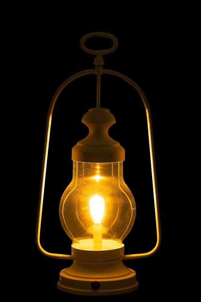 J-line Lamp Led Lantaarn Hoog Handvat Metaal/Glas Wit-92288-5415203922885